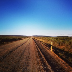 Stetching road ahead and wide open skys